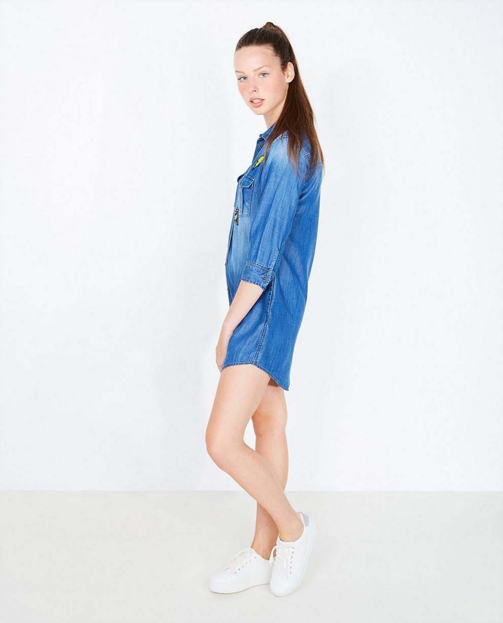 Robe en jeans - écussons, lyocell doux - Groggy